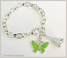 ML_20_Silver Pl Butterfly Eiffel Tower Child Girl Belcher clip on Charm Bracelet