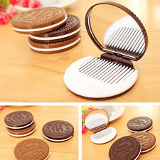 New Portable Cute Mini Cookie Shaped Design Mirror Makeup Chocolate Comb Tool