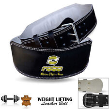 "Leather Weight Lifting Belts Gym Fitness 6"" Back Support Training Black S to 3XL"