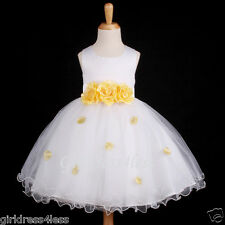 WHITE/YELLOW EASTER HOLIDAY PARTY FLOWER GIRL DRESS 6M 12M 18M 2 3/4T 6 8 10
