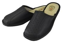 Mens Slipper Shoes Mule Natural Leather Hand Made Black Brown Grey Unbranded