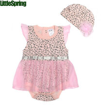 Baby girl romper with cap suit infant girls pink leopard flower rompers LZ-L0102