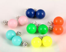 CRYSTAL BALL TWO PART DOUBLE FACED FAUX PEARL PLUG EARRINGS - CHOOSE COLOUR
