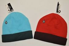 Volcom Drip Cuff Kid Youth Big Boys Beanie Hat One Size Blue Red NWT AUTHENTIC