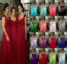 2014 Stock Long Formal Evening Lace Bridesmaid Prom Dress Wedding Party Dresses
