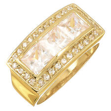 Men's 14k Gold Filled Classic Rectangle/Square Shape Real Heavy Plated CZ Ring