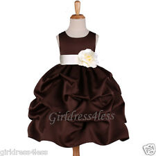 BROWN/IVORY PICK UP WEDDING FLOWER GIRL DRESS 6M 9M 12M 18M 2/2T 4/4T 6 8 10 12