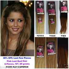 """Pink Lust 18"""" AAA+ Real Hair Dip Dye Ombre 8 Piece Full Head Extensions"""