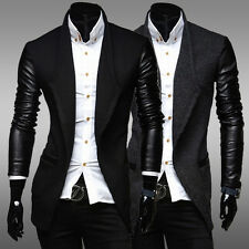 Cheap~ Men Slim Fit PU Leather Long Sleeve Casual Designer Coat Outerwear Jacket