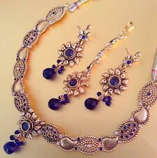 Golden sunflower Dancing Girl India colourful pearl bollywood necklace set s454