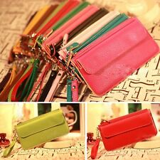 Womens Faux Leather Bifold Card Holder Clutch Bag Wallet Zip Purse Birthday Gift