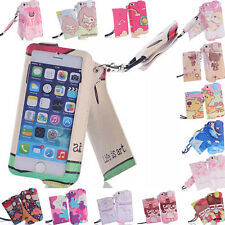 Fashion Cute Cartoon ID Card Wallet Wristlet Leash Leather Cover Case For Phone