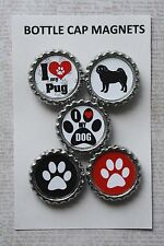 5pc Pug Dog Breed Bottle Cap Magnet Set, Packaged Gift, Party Favor, U Choose