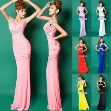 New Long Cocktail Deep V Formal Evening Ball Gown Bridesmaid Prom Party Dresses