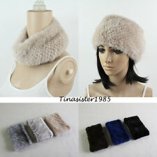 New Fashion Winter Women Elastic Real Mink Fur Hat Headband Hair Bands Neck Wrap