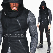 Sharp Diagonal Cut Mens Diabolic Slim Hooded Highneck Jacket Vest By Guylook