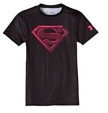 Under Armour Big Boys SUPERMAN Alter Ego Fitted Short Sleeve Shirt Black Pink