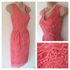 NEW MARKS AND SPENCER M&S CORAL FLORAL LACE DRESS IN SIZE 8 10 12 14 16