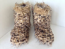 FAUX FUR BROWN WINTER LEOPARD BOOTS SLIPPERS CLAIRE'S NEW!