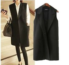 Korea HOT FASHION Lady Jacket Long Vest Waistcoat Black Gilet Coat Plus Size