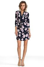 NWT $365 DVF Diane von Furstenberg Freya Simple Orchid Silk Shirt Dress Navy 4/6