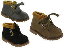Infant Baby Boys Fur Collar Grip Sole Lace Up Zip Ankle Boots Shoes Size 3-7.5