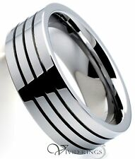 Men Tungsten Carbide Wedding Band Triple Grooves Ring 8mm Size 7.5 to 14.5