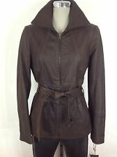 Andrew Marc NWT Brown Coated Glamorous belted leather jacket , size M