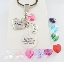 Family & colour heart 'Love u to the moon and back' Keyring,B'day,Christmas,gift