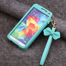 New BOW Chain Wristlet Strap Pouch Leather Case Samsung Galaxy S3 S4 S5 Note 2/3