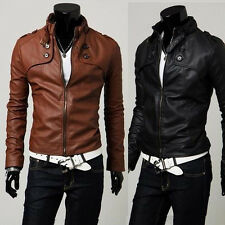 Sexy Men's Clothes Hot Windbreaker Trench Coat PU Leather Coat Jacket Outwear