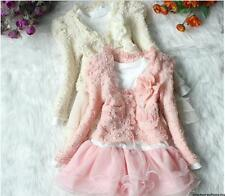 Girls Outfit Jacket Tutu Pearl Flower Top Dress Toddler Party Pageant SZ 3T - 6T