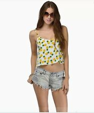 Summer Spagetti Strap Pineapple Short Vest Chiffon Blouse Ladies Top Tank Shirt