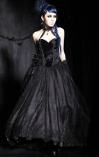 Gothic Victorian Rave Steampunk Black Corset Dress Ballgown Prom 10 12 14 16