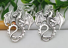 Wholesale 10/30pcs Antique Silver Lovely Flying Dragon Charms Pendant 35x27mm