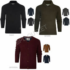 New Mens Brave Soul Heavy Knitted Jacquard V Neck Jumper Cardigan Casual D5
