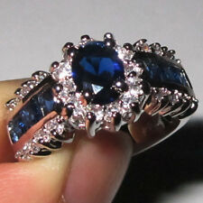 Size 8-11 Deluxe Jewelry Ladys White Gold Filled Sapphire Wedding Ring