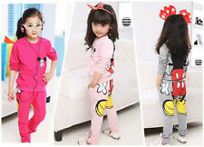 Baby Girls Kids Mickey Minnie T-shirt Tops Hoodies+Pants Two-pieces Outfits Set