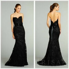 Long Mermaid Black Lace Evening Cocktail Formal Prom Party Dresses Wedding Gowns