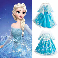 Frozen Elsa Anna Costume Disney Princess Girls Child Fancy Outfit Long Dress