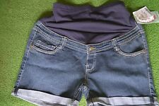 DENIM MATERNITY SHORTS WITH BELLY BAND. OH MAMMA. NWT
