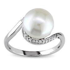 Sterling Silver 9-9.5 mm Freshwater Pearl 1/10 Ct TDW Diamond Ring G-H I3