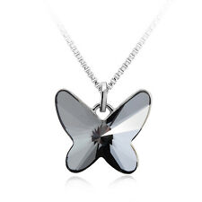 Solid 14k Gold Crystal Necklace Butterfly Pendant Gift With Swarovski Elements