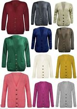 LADIES CABLE KNIT BOYFRIEND LONG SLEEVE CARDIGAN SWEATER TOP SIZES 8,10,12,14