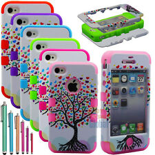 Hybrid Rugged Rubber Matte Hard Case Cover For iPhone 4/4S w/Screen Guard+Stylus
