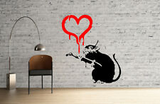 Banksy Love Heart Rat Painting reusable STENCIL for home interior decor