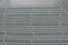 Chimney Smoke Blue Gray Linear Mosaic Tiles - Kitchen or Bathroom Tile