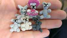 "Crochet Tiny 1"" Grey Bear. OOAK  Miniature Teddy Bear artist handmade dollhouse"