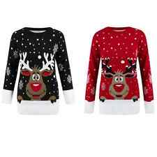NEW WOMENS LADIES CHRISTMAS REINDEER RUDOLPH SNOWFLAKE LONG SLEEVE XMAS JUMPER