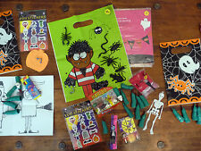 HALLOWEEN FILLED PARTY LOOT BAGS WITH TOYS SPOOKY FINGERS + SWEETS OR STICKERS